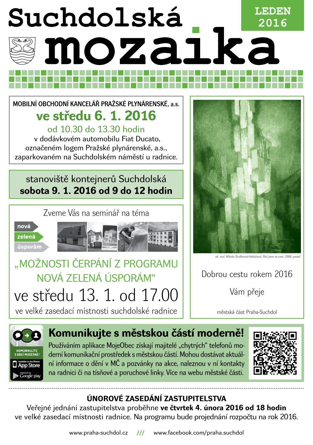 Suchdolská mozaika - leden 2016 - 1. strana