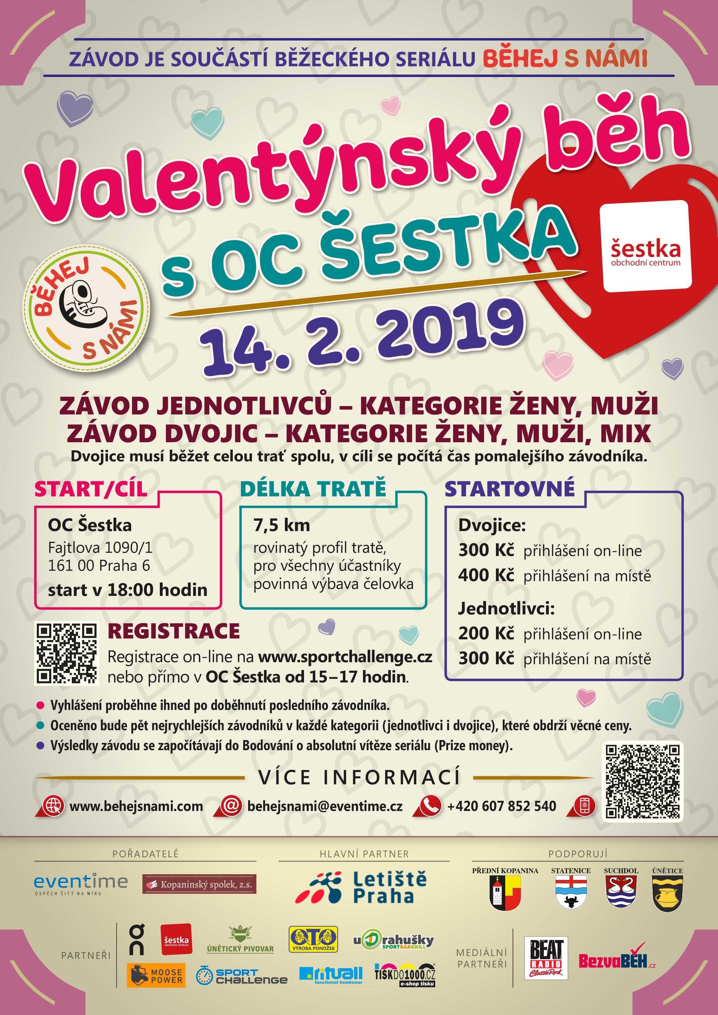 - Běhej s námi 2019 - Valentýnský běh OC Šestka