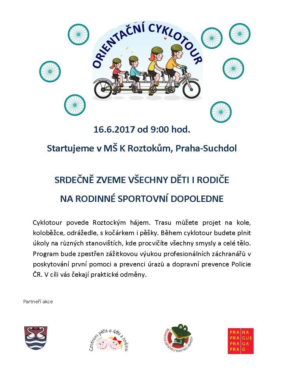Orientační cyklotour 2017, 16.6.2017 MŠ K Roztokům