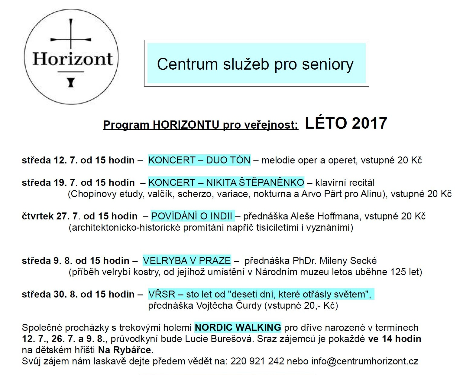 Program HORIZONTU na léto 2017