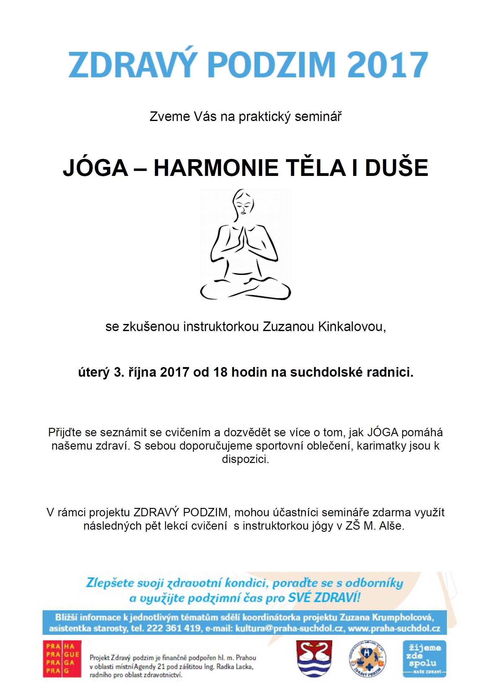 Jóga, praktický seminář - 3.10.2017 Zdravý podzim