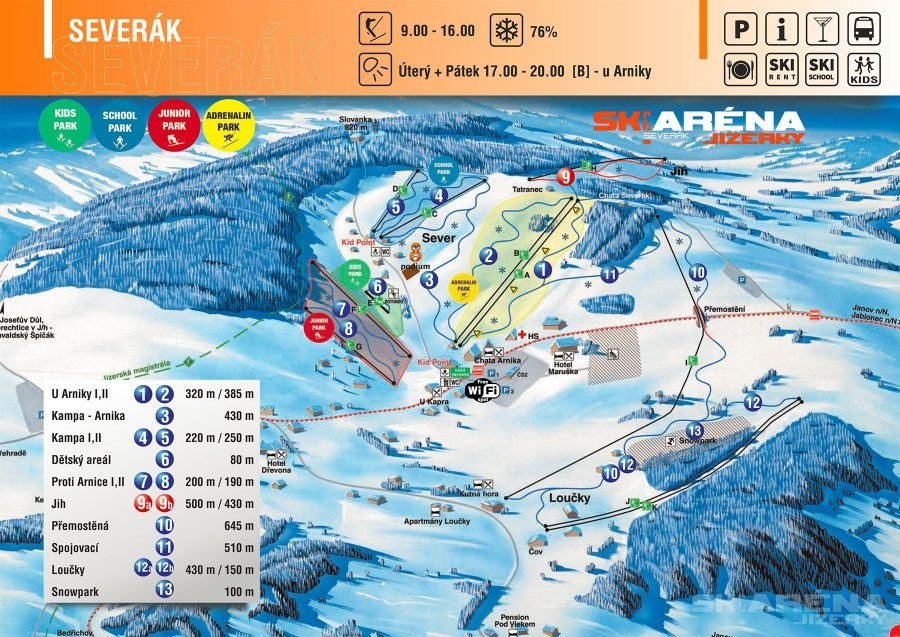 ski severák mapa