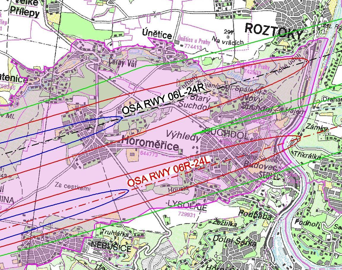 Návrh ochranného hlukového pásma kolem letiště v Suchdole