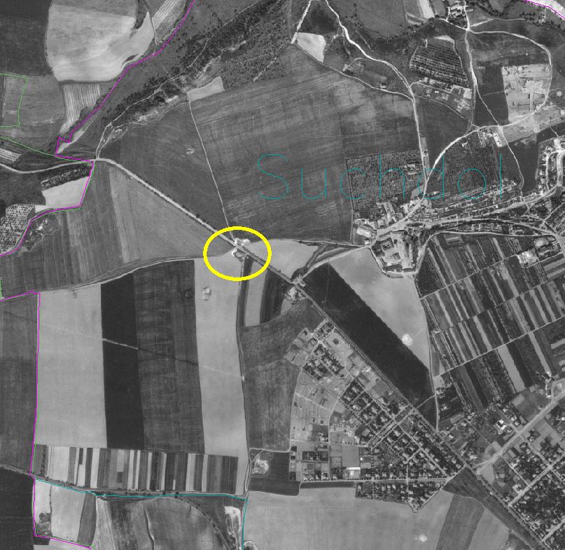 rozcestník - orto mapa 1952