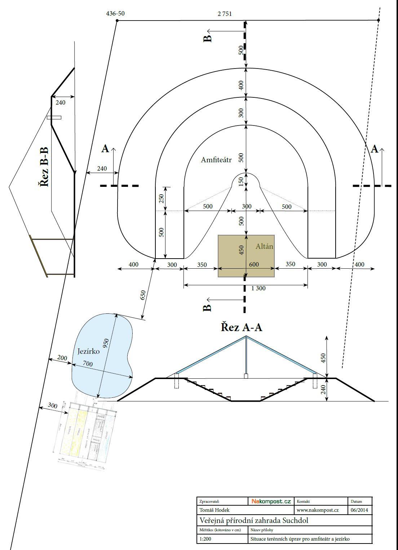 Situace vodní pokusný systém jezírko a amfiteátr